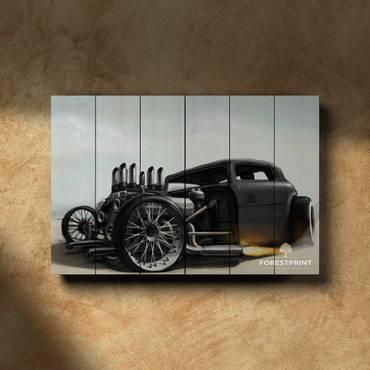 Картина на дереве Hot Rod Car