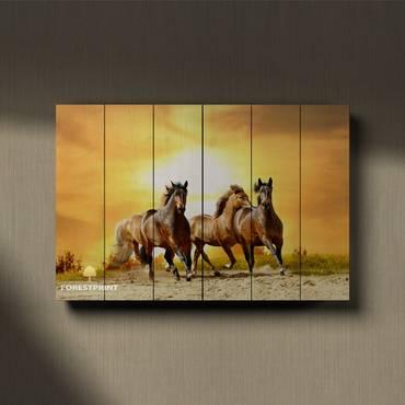 Картина на дереве Лошади №1