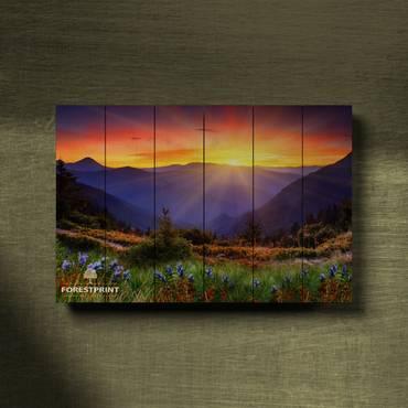 Картина на доске Закат №6