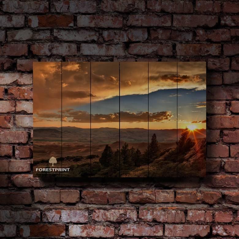 Картина на доске Закат №19